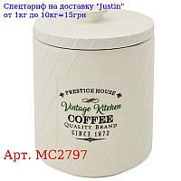"""Банка для кофе """"Винтаж"""" 850мл 11, 5 * 11, 5 * 15, 5см MC2797"""