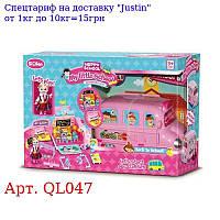 Автобус QL047 2в1 (школьный класс), 26см, мебель, кукла 11см, в кор-ке, 50-34-18см