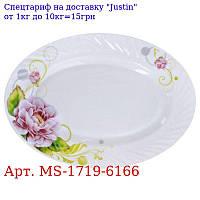 """Блюдо эмаль овал """"Роза"""" 2шт / наб 12 """"(30, 5 * 21см) MS-1719-6166 (12наб)"""