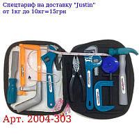 Набір інструментів 2004-303 молоток,  пила,  плоскогубці,  ключ,  в сумці,  14-22-6см