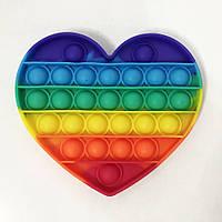 Іграшка-антистрес Pop It. Сенсорна іграшка Поп Іт. Натисни міхур. Різнобарвне серце, фото 1