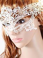 Кружевная маска белого цвета для карнавала, фото 1