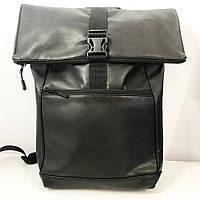 Рюкзак Ролл Топ из эко-кожи. Дорожная сумка, сумка для похода. Модель 3737. Цвет: черный