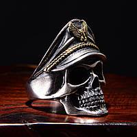 Чоловіче масивне кільце (перстень печатка) 3D череп Солдатів. Регульований розмір Байкерська і рок атрибутика