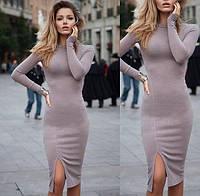 Платье на флисе с разрезом