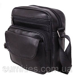 Кожаная сумка мужская через плечо барсетка из кожи с клапаном черная кожа 18х16 8s11014 Black Польша