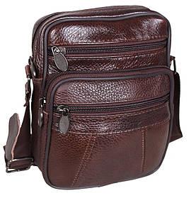 Кожаная сумка мужская через плечо добротная барсетка из кожи коричневая 19х16 кожа 8sR010-1 Польша
