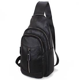 Мужская кожаная сумка барсетка городской рюкзак на плечо косуха 31х18х10см 8s9 кожа черная Польша