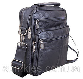 Кожаная мужская сумка через плечо вместительная барсетка из кожи 23х18х6см 8s40202 черная кожа Польша