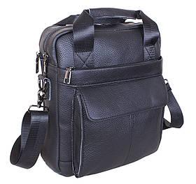 Кожаная мужская сумка через плечо из кожи для документов ноутбука черная кожа 30х26 s8861-1 Black Польша