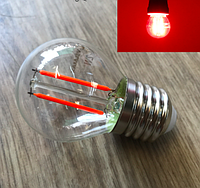 Светодиодная лампа Filament  2Вт Е27 G45 красная Red, для уличных гирлянд