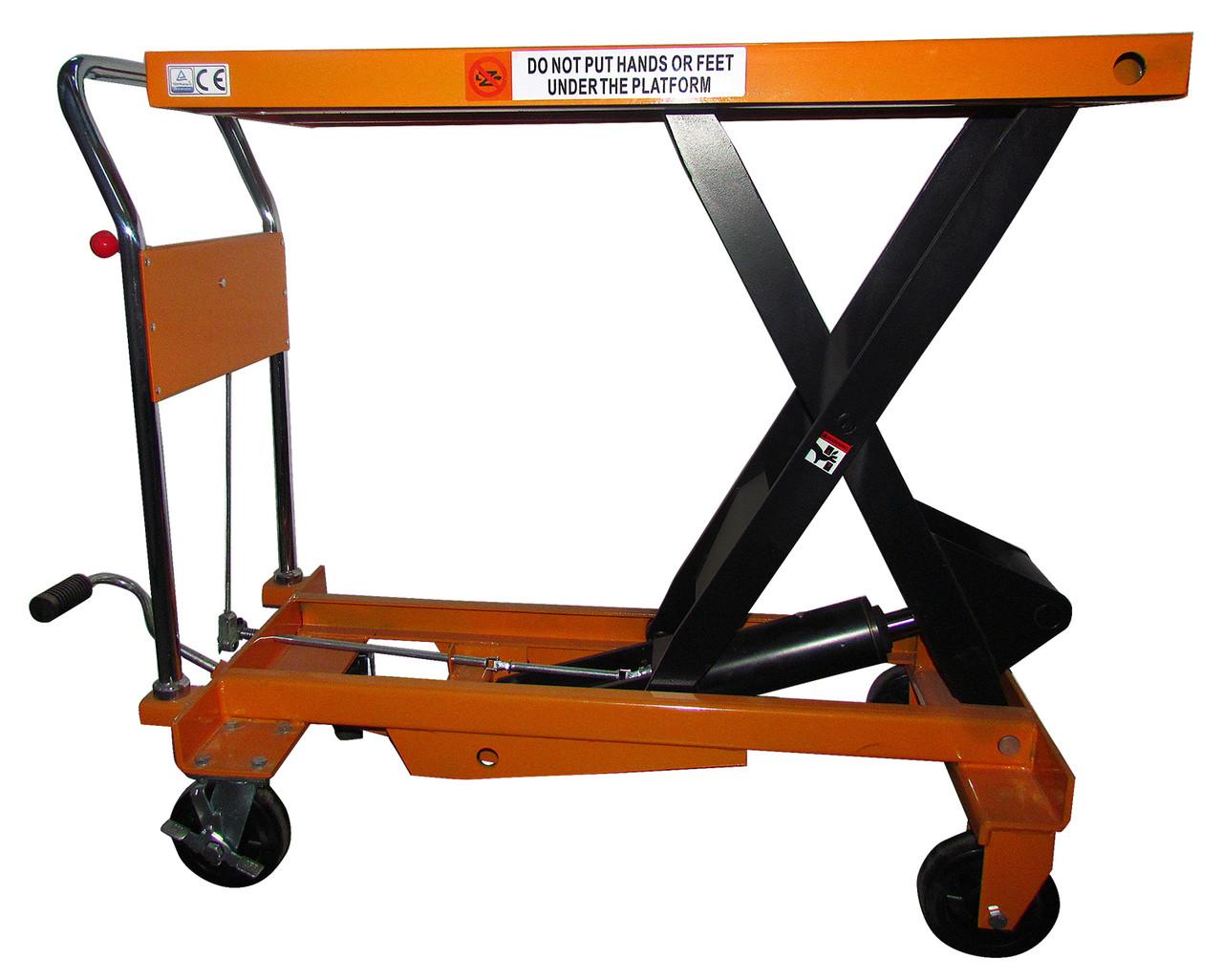 Стол гидравлический подъемный VULKAN SYTJ-100 желтый 1000 кг/1м