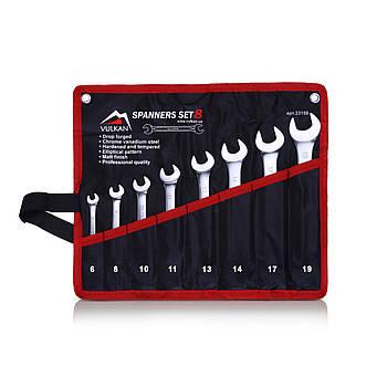 Набор комбинированных ключей Vulkan 6-19 мм, 8 шт в чехле