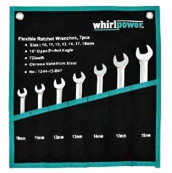 Набор трещоточных ключей Whirlpower 10-19 мм, 7 шт с карданом