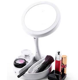 Настольное зеркало с подсветкой 16 LED MIRROR, myFoldAway круглое