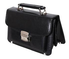 Мужская сумка барсетка классическая 8s41366-1BL черная Премиум 8 карманов, замок Польша
