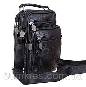 Кожаная мужская сумка через плечо барсетка из кожи много карманов 19х15х8см кожа 8s2020 черная Польша