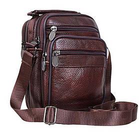 Кожаная мужская сумка через плечо барсетка из натуральной кожи 19х15х8см 8s2020 коричневая кожа Польша