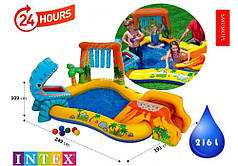 Надувной детский игровой центр с горкой, водопадом и пальмой-фонтаном Динозавры Intex 57444