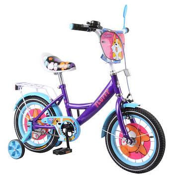 """Детский двухколёсный велосипед 14"""" фиолетовый велосипед для девочки с металлической рамой"""
