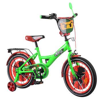 """Детский двухколесный велосипед 16"""" с металлической рамой и съёмными страховочными колёсами"""