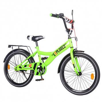 Двухколесный велосипед для детей со светоотражателями и багажником Велосипед ребенку двухколесный зеленый