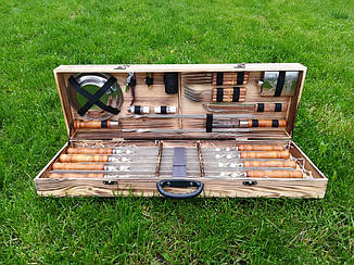 """Набір з 8 шампурів для люля-кебаб """"Master"""" Tramontina (730х15х3 мм) + комплект аксесуарів в дерев'яному кейсі"""