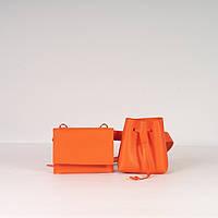 Дві сумочки на поясі! Помаранчева жіноча поясна сумка K37-20/4 набір 2 в 1 на одному поясі, фото 1