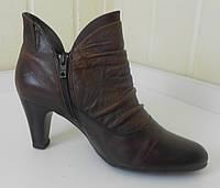 Красивые коричневые ботильоны из натуральной кожи на устойчивом каблуке Gabor