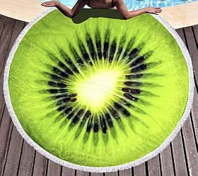 Пляжное махровое полотенце покрывало круг 150х150см Микрофибра (Киви)