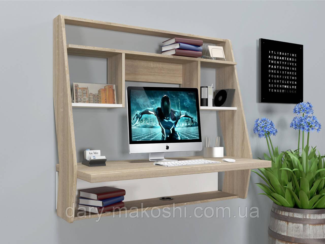 Навесной компьютерный стол ZEUS AirTable-III WT (санома/белый)