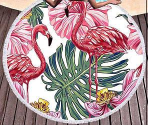 Пляжное махровое полотенце покрывало круг 150х150см Микрофибра (Красный фламинго)