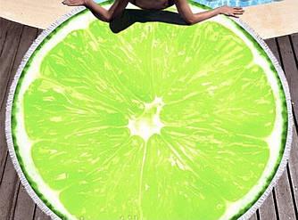 Пляжное махровое полотенце покрывало круг 150х150см Микрофибра (Лайм)