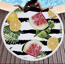 Пляжное махровое полотенце покрывало круг 150х150см Микрофибра (Лимон)
