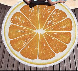 Пляжное махровое полотенце покрывало круг 150х150см Микрофибра (Orange)