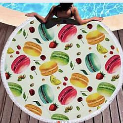 Пляжное махровое полотенце покрывало круг 150х150см Микрофибра (Печенье)