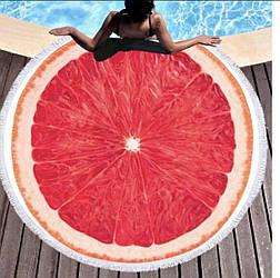 Пляжное махровое полотенце покрывало круг 150х150см Микрофибра (Фрукт)