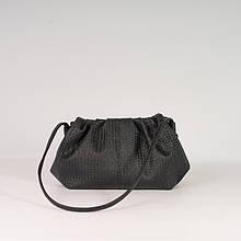 Жіноча сумка пельмень! Чорна модна сумочка K39-20/7 на магнітах з довгою ручкою на плече