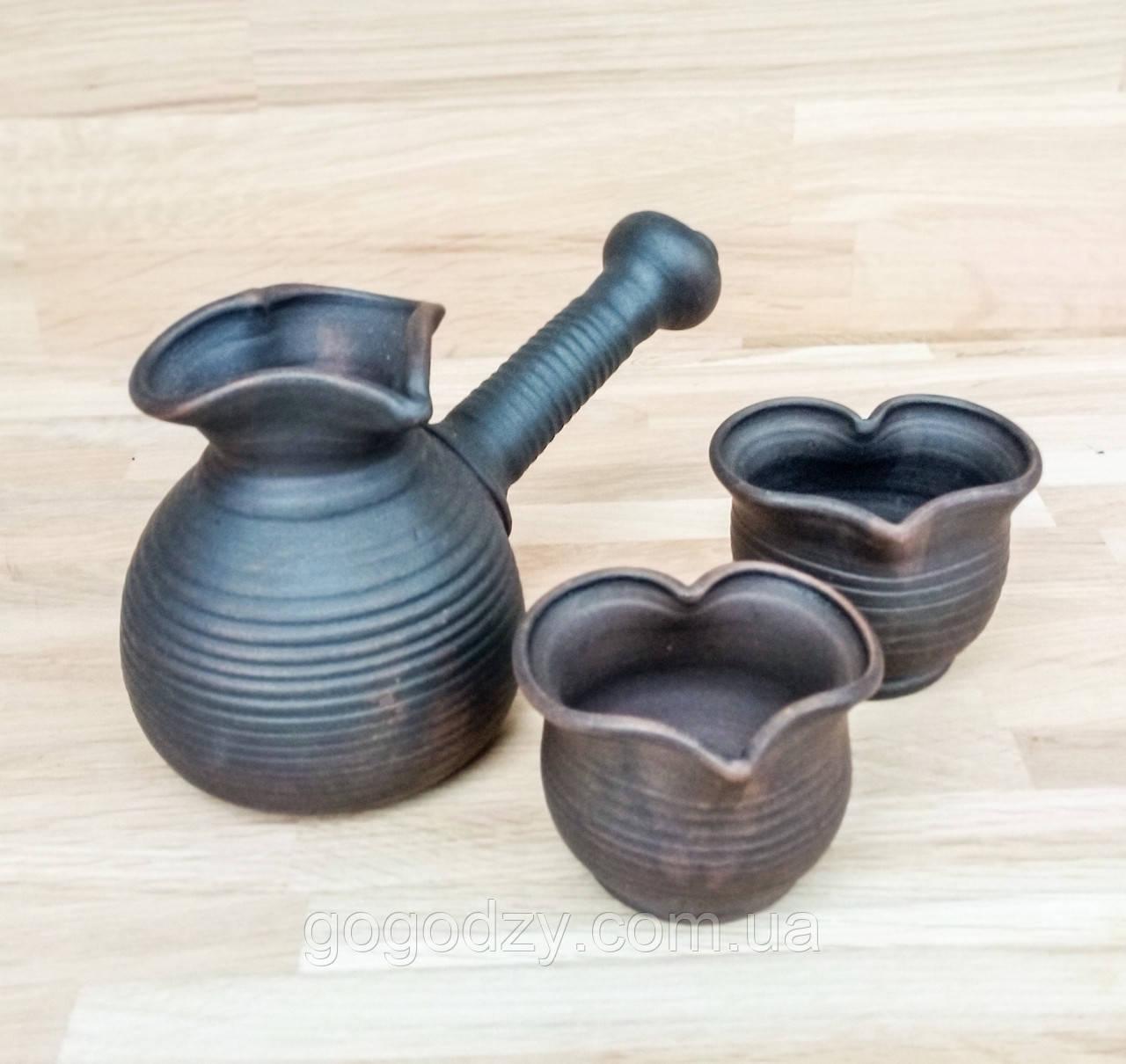 Набір кавовий гончарний Валентинка на 2 особи