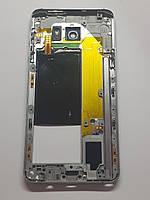 Средняя часть корпуса Samsung Galaxy Note 5 N920 с кнопками,динамиком,шлейфом NFC silver orig б.у
