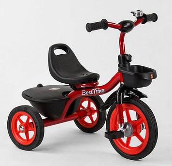 Детский велосипед трехколесный, с двумя корзинами и звоночком Красный трехколесный велосипед