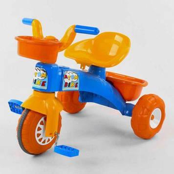 Трехколесный велосипед пластиковые колеса, корзинка, багажник (цвет сине-оранжевый)