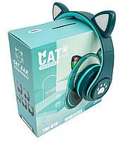 Гарнитура беспроводная с подсветкой CAT EAR YW-018 Bluetooth наушники с ушками (Зелёный) блютуз (TI)