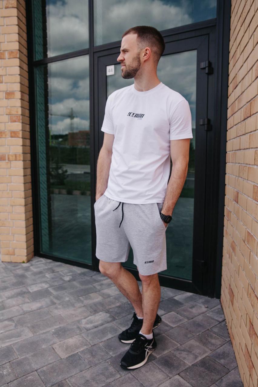 Комплект літній чоловічий Футболка шорти / Молодіжний літній костюм Біла футболка сірі шорти