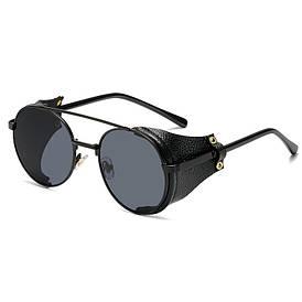 Очки в стиле стимпанк солнцезащитные UV400 (арт. 17310/1) с черной оправой