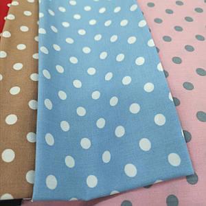 Ткань штапель принт белый горох 7мм на голубом
