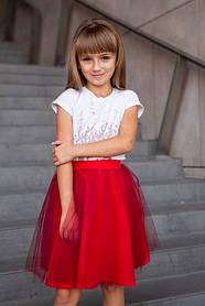 Красная детская юбка под вышиванку для девочки Юбка пачка красная