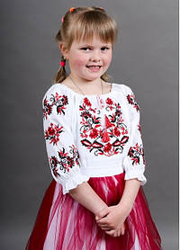 Дитяча вишиванка з класичним візерунком для дівчинки