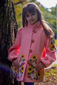 Вышитое модное детское пальто кашемировое для девочки