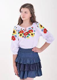 Вышиванка украинская детская Вышиванка на девочку Маки и подсолнухи
